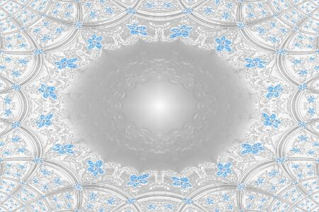 scroll work: Blue flowers  grey and white scroll work form elegant squares in this background image   Center has oblong, glowing center for personalization  Stock Photo