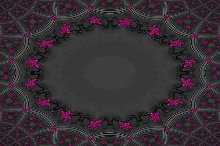 scroll work: Pink flowers decoate corners of scroll work frame   Frames form outside of oval which is blank for personalizatioin  Stock Photo