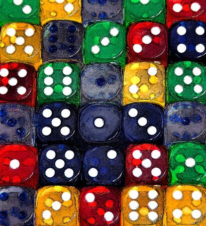 come in: Dice form rows of numbers and come in red, green, blue, yellow and clear   Illustration could be used for  numbers in a row  or  crunching the numbers   Stock Photo