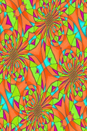 Antiqued graphic composed of triangles and circles in a miriad of orange, aqua, green and purple  Stock Photo - 15111027