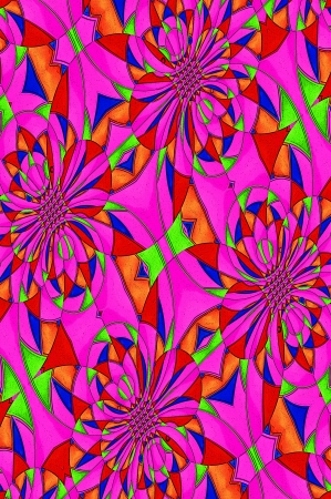 Antiqued graphic composed of triangles and circles in a miriad of brilliant colors in orange, blue, green and purple Stock Photo - 15111017