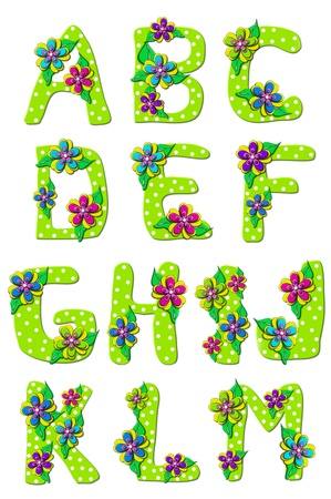 Vivid, green, alphabet letters A to M in the set Tropical Floral is decorated with polka dots and layered flowers.