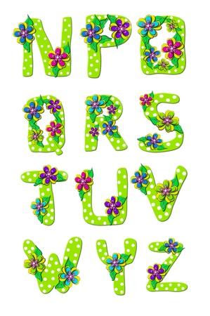 鮮やかな緑、アルファベットの文字 N Z から「熱帯花」のセットで水玉で飾られているし、花の層します。