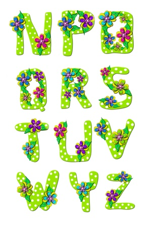Vivid, green, alphabet letters N to Z in the set Tropical Floral is decorated with polka dots and layered flowers. Reklamní fotografie