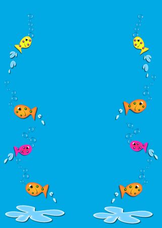 fish form: Multi-colored fish of ornage, pink and yellow jump out of a large puddle of water.  Fish form frame around edges of aqua colored background. Stock Photo