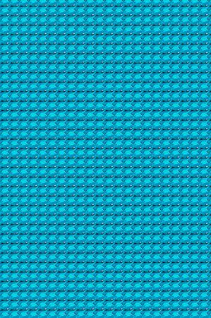 material: Abstract painting of bright turquoise material gathered into tufts forming rows upon rows of gathered material.