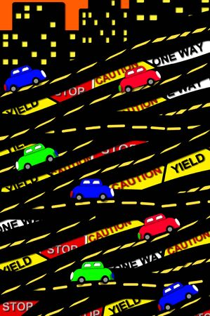 Graphic illustration of the crazy congestion of interstate, highways, streets and traffic warning in a busy crazy city   Cars zoom by on blacktop with signs in background   City buildings top illustration