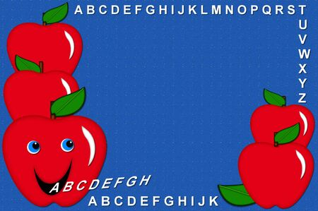 Bulletin board designed frame with talking apples spitting out the letters of the alphabet A to Z.  Bright blue background has tiny white specks across surface. Stock Photo - 15110782