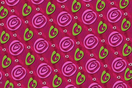 artistic designed: Wrapping paper design in deep pink decorated with 3D swirls, confetti and spirals.  Spirals are pink and green. Stock Photo