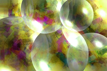 Transparent balls glittering with color float across image in colors of yellow, gold, purple and pink. Stock Photo - 15107665