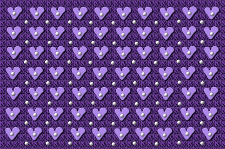 Background image has tufted squares with heart buttons.  White polka dots are scattered across fabric. Stock Photo - 15110964