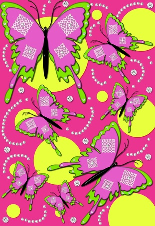 3D butterflies float across hot pink background   Background has large and small yellow, polka dots, pearls and diamond studs    photo
