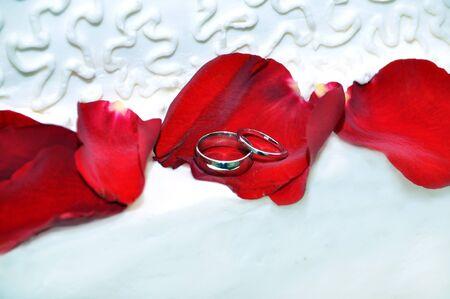 wedding bands: Alianzas de boda yac�a en rojo, p�talos de rosa sobre la guinda de un pastel de bodas. Una banda fija en la parte superior de la otra. Foto de archivo