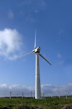 sceince: Huge wind turbine generates power at South Point on the Big Island of Hawaii.  Blue sky frames tower and propellors.