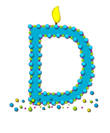 The letter D, in the alphabet set Birthday Cake Candle, is aqua and outlined in fun colored sprinkles.  Flame burns from top of letter.  More sprinkles surround base of letter. photo
