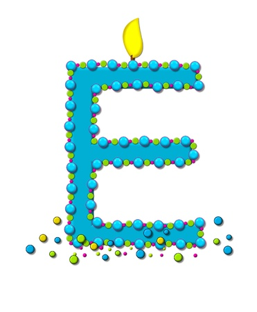 wick: The letter E, in the alphabet set Birthday Cake Candle, is aqua and outlined in fun colored sprinkles.  Flame burns from top of letter.  More sprinkles surround base of letter. Stock Photo