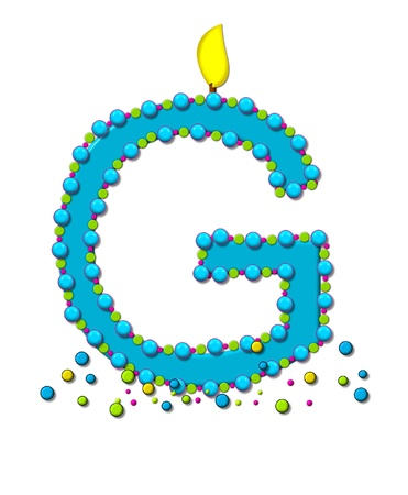 The letter G, in the alphabet set Birthday Cake Candle, is aqua and outlined in fun colored sprinkles.  Flame burns from top of letter.  More sprinkles surround base of letter. photo