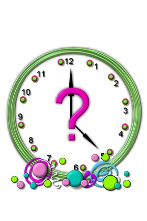 timeless: Question mark , in the alphabet set Timeless, is sitting in the middle of a wall clock.  Frame for clock is green and letter is hot pink.