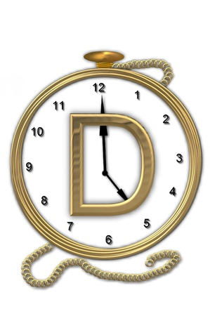 big timer: Alphabet letter D, is from the alphabet set Pocket watch.  Watch has the letter sitting on face of gold, timepiece.  Letter is gold and background is white.