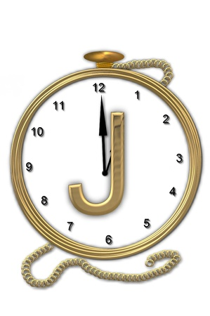 wasted: Alphabet letter J, is from the alphabet set Pocket watch.  Watch has the letter sitting on face of gold, timepiece.  Letter is gold and background is white. Stock Photo