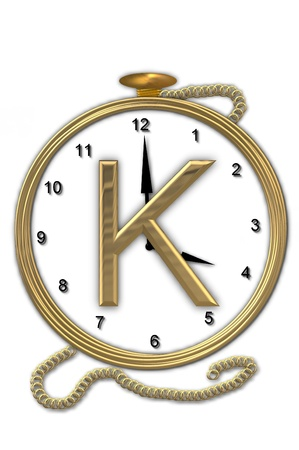 big timer: Alphabet letter K, is from the alphabet set Pocket watch.  Watch has the letter sitting on face of gold, timepiece.  Letter is gold and background is white. Stock Photo