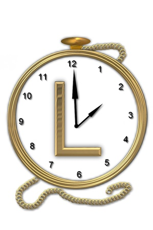 big timer: Alphabet letter L, is from the alphabet set Pocket watch.  Watch has the letter sitting on face of gold, timepiece.  Letter is gold and background is white.