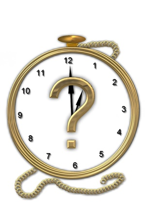Question mark , is from the alphabet set Pocket watch.  Watch has the letter sitting on face of gold, timepiece.  Letter is gold and background is white. photo
