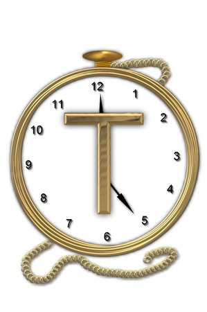 wasted: Alphabet letter T, is from the alphabet set Pocket watch.  Watch has the letter sitting on face of gold, timepiece.  Letter is gold and background is white. Stock Photo