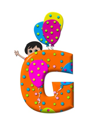 g spot: The letter G, in the alphabet set Preparing to Party, is filled with balloons and polka dots.  Boy holds cluster of balloons and waves.