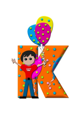 The letter K, in the alphabet set Preparing to Party, is filled with balloons and polka dots.  Boy holds cluster of balloons and waves. photo