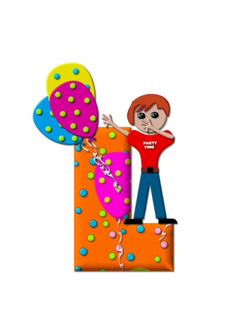 l boy: The letter L, in the alphabet set Preparing to Party, is filled with balloons and polka dots.  Boy holds cluster of balloons and waves. Stock Photo