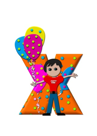 The letter X, in the alphabet set Preparing to Party, is filled with balloons and polka dots.  Boy holds cluster of balloons and waves. photo