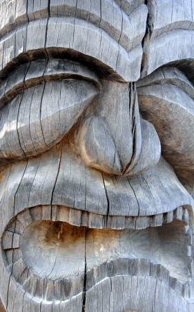 Extreme closeup of hawaiian statue in Puuhonua O Honaunau National Histoical Park on the Big Island of Hawaii.