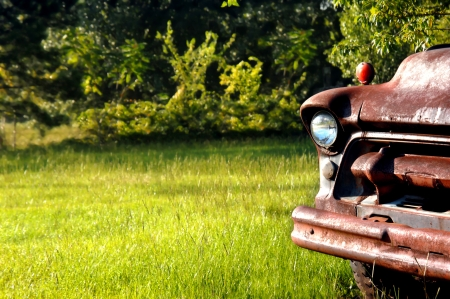 trashed: Abandoned and junked Chevy truck sits in a meadow of green grass. Stock Photo
