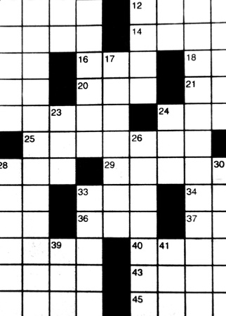 blanks: Crossword puzzle fills background image.  Blanks with corresponding numbers and clues challenge the mind.