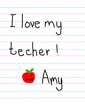 Little girl writes note to her teacher and signs her name.  She also adds a red, smiling apple for her teacher. Stock Photo - 16318050
