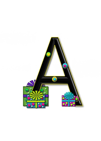A, in the alphabet set Birthday Boxes, has multi-colored packages with polka-dots and ribbon.  Letters are black with colored outline. 3D circles decorate letters.