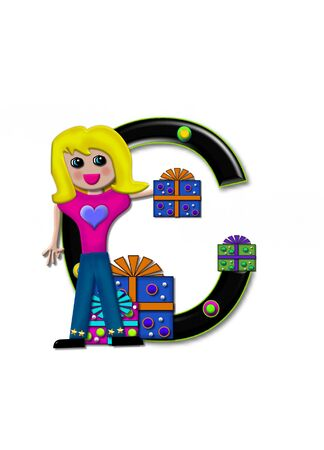 C, in the alphabet set Birthday Boxes, has multi-colored packages with polka-dots and ribbon.  Letters are black with colored outline. 3D circles decorate letters.