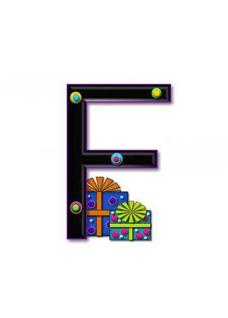 F, in het alfabet set Verjaardag Dozen, heeft multi-gekleurde pakketten met polka-dots en lint. Letters zijn zwart met gekleurde contour. 3D cirkels versieren letters. Stockfoto