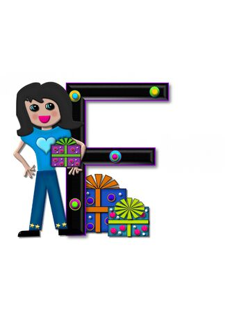 F, in the alphabet set Birthday Boxes, has multi-colored packages with polka-dots and ribbon.  Letters are black with colored outline. 3D circles decorate letters.