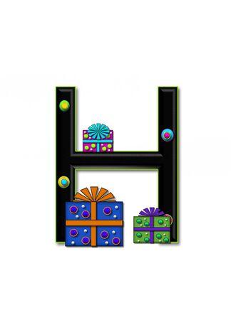 H, in het alfabet set Verjaardag Dozen, heeft multi-gekleurde pakketten met polka-dots en lint. Letters zijn zwart met gekleurde contour. 3D cirkels versieren letters.
