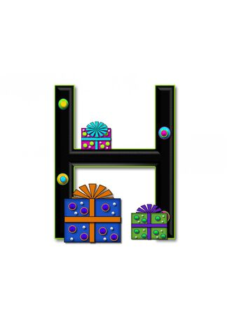 upper case: H, in the alphabet set Birthday Boxes, has multi-colored packages with polka-dots and ribbon.  Letters are black with colored outline. 3D circles decorate letters.