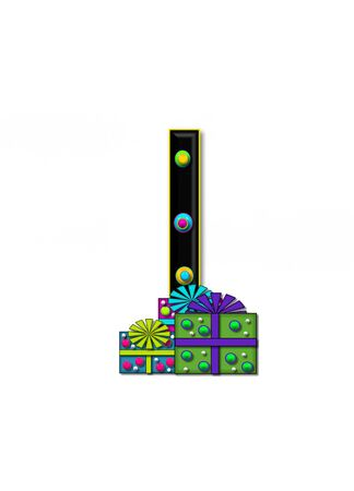 I, in the alphabet set Birthday Boxes, has multi-colored packages with polka-dots and ribbon.  Letters are black with colored outline. 3D circles decorate letters. Stock Photo - 16319052