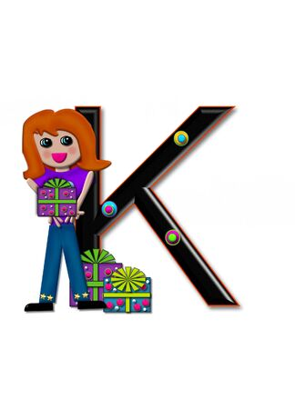 K, in the alphabet set Birthday Boxes, has multi-colored packages with polka-dots and ribbon.  Letters are black with colored outline. 3D circles decorate letters.