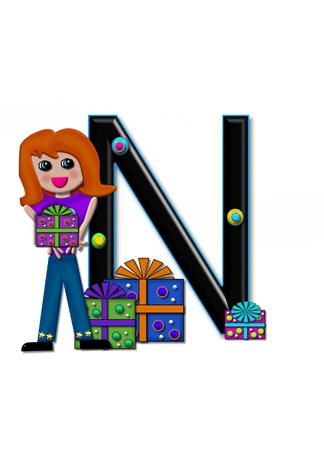 upper case: N, in the alphabet set Birthday Boxes, has multi-colored packages with polka-dots and ribbon.  Letters are black with colored outline. 3D circles decorate letters. Stock Photo