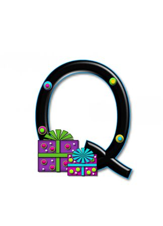 Q, in the alphabet set Birthday Boxes, has multi-colored packages with polka-dots and ribbon.  Letters are black with colored outline. 3D circles decorate letters.