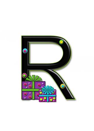 R, in het alfabet set Verjaardag Dozen, heeft multi-gekleurde pakketten met polka-dots en lint. Letters zijn zwart met gekleurde contour. 3D cirkels versieren letters.