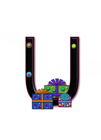 U, in the alphabet set Birthday Boxes, has multi-colored packages with polka-dots and ribbon.  Letters are black with colored outline. 3D circles decorate letters.