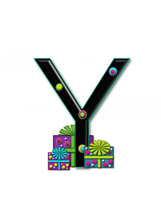 Y, in the alphabet set Birthday Boxes, has multi-colored packages with polka-dots and ribbon.  Letters are black with colored outline. 3D circles decorate letters.