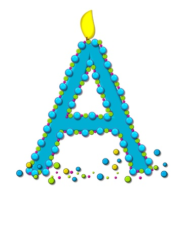 wick: The letter A, in the alphabet set Birthday Cake Candle, is aqua and outlined in fun colored sprinkles.  Flame burns from top of letter.  More sprinkles surround base of letter. Stock Photo